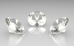 Set of three beautiful round diamonds Royalty Free Stock Photo