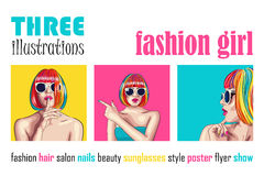 set of three beautiful women wearing colorful wig Stock Images
