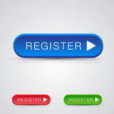 Set of three Big register button with shadow and r Royalty Free Stock Photography