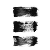 Set of three black grunge  brush strokes Stock Image
