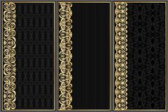 Set of black labels with gold pattern Royalty Free Stock Photos