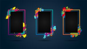Set of three blank frames with multicolored spatters. Modern graphic backgrounds for your design. Vector illustration Royalty Free Stock Photography