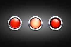 Set of three blank red buttons Royalty Free Stock Photography