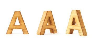 Set of three block wooden letters isolated Royalty Free Stock Photos