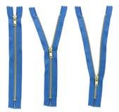 Set of three blue zipper Royalty Free Stock Photo