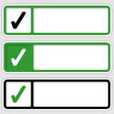 Set of three boxes. For any text with check box stock illustration