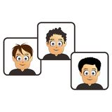 Set three boy cartoon art Royalty Free Stock Photography