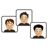 Set three boy cartoon art Royalty Free Stock Photography
