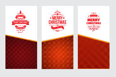 Set of three bright red and white vector classic Christmas greetings cards. With white red background Royalty Free Stock Photography