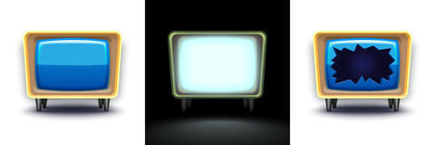 Set of three broken TVs, work Royalty Free Stock Photography