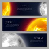 Set three business cards, cosmos theme, copy space, realistic. Invitations, flyers and posters with moon, sun and stars. Vector illustration of tickets Royalty Free Stock Images