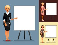 Set of three businesswomen showing at a whiteboard Stock Photography