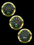 A set of three car dials Royalty Free Stock Photos