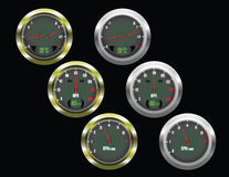 Set of three car dials Stock Photos