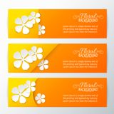 Set of three card with paper flower. Royalty Free Stock Photography