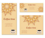 Set of three cards with cups. Set of three cards with cup of coffee, ornate eastern round elements stock illustration