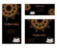 Set of three cards with cups. Set of three cards with cup of coffee,  ornate eastern round elements royalty free illustration