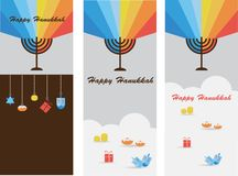 Set of three cards with hanukkah infographics. Illustration Royalty Free Stock Photos