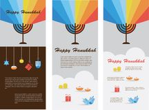 Set of three cards with hanukkah infographics. Illustration
