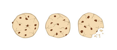 Set of three cartoon cute cookies isolated on white backg. Round royalty free illustration