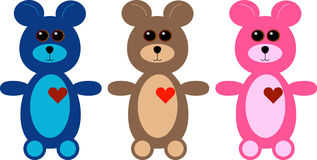 Set of Three Cartoon Teddy Bears Royalty Free Stock Photos