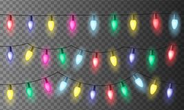 Set of three chains of colorful Christmas lights or celebration. Lights with red, green yellow and blue light, isolated on transparent background - seamless royalty free illustration
