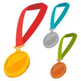 Set of three champion medals award with ribbon Royalty Free Stock Photos