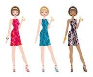 Set of three chic women Royalty Free Stock Image