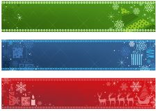 Set of Three Christmas Banner in Three Colors royalty free illustration