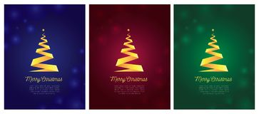 Set of three christmas cards with gold ribbon christmas tree royalty free illustration