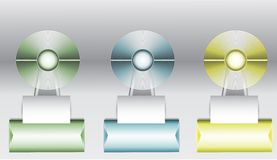 Set of three circular diagrams with paper banners on the stand for infographic. Fan metal objects on green, blue and yellow pedestals with arrows Royalty Free Stock Photos