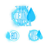 Set of three clear water badges Royalty Free Stock Images