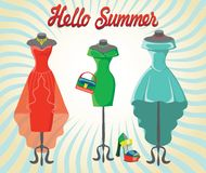 Set of  three coctail dresses with accessories.Hello summer Stock Photography