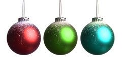 Set of three colored christmas balls Stock Photo