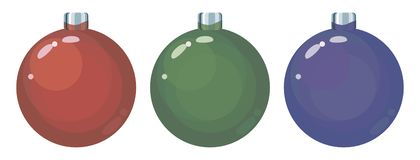 Set of three colored red, green and blue glass Christmas balls toy objects isolated on a white background. Set of three colored red, green and blue glass royalty free illustration