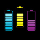 Set of three colorful batteries. Vector illustration Royalty Free Stock Photo