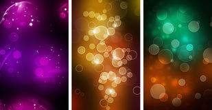 Set Of three Colorful Bokeh backgrounds Royalty Free Stock Photos