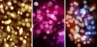 Set Of three Colorful Bokeh backgrounds Royalty Free Stock Image
