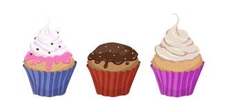Set of three colorful cartoon illustrations of cupcakes with cre. Am and icing on white background Stock Photos