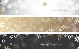 Set of three colorful Christmas background banners. With snowflakes and simple Merry Christmas text - horizontal version Royalty Free Stock Images