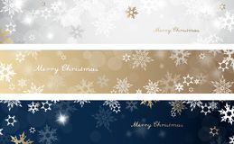 Set of three colorful Christmas background banners. With snowflakes and simple Merry Christmas text - horizontal version Royalty Free Stock Photography
