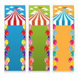 Set Of Three Colorful Circus Theme Vertical Banners Stock Photography
