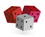 Set of three colorful dices (vector). Red, pink and gray dices, game design Royalty Free Stock Photos