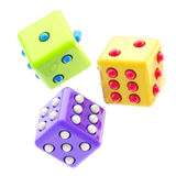 Set of three colorful glossy dices isolated. Gambling: set of three colorful glossy dices isolated on white Royalty Free Stock Photography