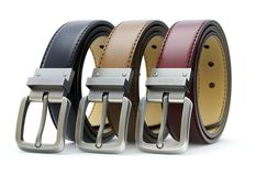 Set of three colorful leather belt Stock Photography