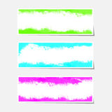 Set of three colorful painted paper banners Stock Image