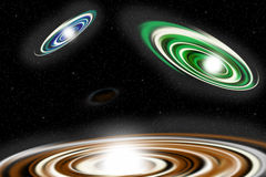 Abstract Colorful Spiral Galaxies in Space Backgro royalty free stock photography