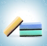 Set of three colorful sponges Royalty Free Stock Image