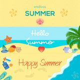 Set of three colorful summer banners in different. Vector banners for summer with seashells, starfishes and other beach atributes. Elegant and colorful banners Royalty Free Stock Image