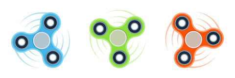 Set Three Colorful Vector Fidget Spinners. Set of three blue, green and red fidget spinners isolated on white. Flat style vector colorful illustration Royalty Free Stock Photo